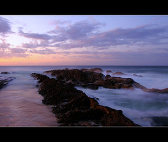 Snapper Rocks Twilight (whoops vision) Tags: ocean sunset beach water clouds twilight rocks snapperrocks colouredsky