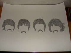 The Beatles (Punkstrung) Tags: blackandwhite rock illustration hair drawing beatles fab4 ringostar paulmcartney geourgeharrison
