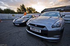 Grey Nissan GTR And Black Fabio At The Ace Cafe (NWVT.co.uk) Tags: black cars up canon lens grey weird cafe cool photographer nissan close angle nirvana 10 d 14 ace wide funky automotive fabio september professional 400 and mm expensive rare meet th exotica freelance detailed gtr petrolhead the at nwvtcouk nwvt