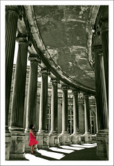 The Girl In The Pink Dress. (Andy Bracey -) Tags: pink light france roma architecture marseille shadows dress columns architectural curve curved toned longchamp southernfrance selectivecolour bracey superaplus aplusphoto colourpopped silverefexpro artofimages bestcapturesaoi andybracey thegirlinthepinkdress thepalaislongchamp