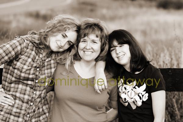 mom and teenage girls sepia