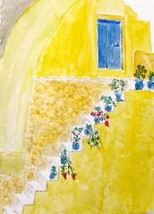 Santorini / Grecia / Greece (Nadia Abduch) Tags: world ocean door yellow azul watercolor mar nadia do mare santorini greece amarelo grecia lugares watercolour escada isla ilha mundo challenge lugar ferias pintura portas aquarela paisagismo degrau santorino anawesomeshot caiada abduch nadiaabduch