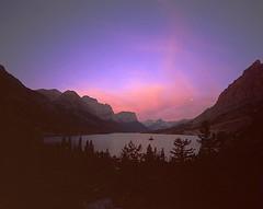 St Mary's Lake Full Moon Dawn (wanderingYew2) Tags: mountain lake film mediumformat geotagged dawn montana unescoworldheritagesite glacier fullmoon rockymountains 6x7 glaciernationalpark filmscan hikingtrail cdt glaciallake goingtothesunroad mamiya7ii continentaldividetrail watertonglacierinternationalpeacepark americashikingtriplecrown geo:lat=48691747 geo:lon=113531824