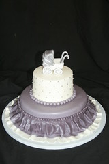 "Gray ruffle cake with carriage • <a style=""font-size:0.8em;"" href=""http://www.flickr.com/photos/60584691@N02/5704799523/"" target=""_blank"">View on Flickr</a>"