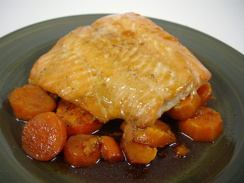 Maple Glazed Salmon & Sweet Potatoes