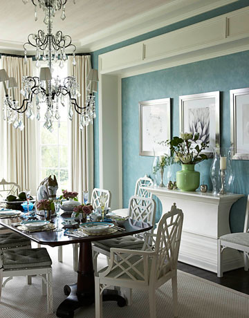 Blue dining room + green and white accents