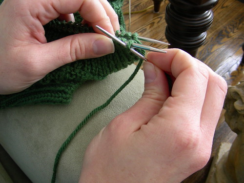 purl front stitch leave on needle