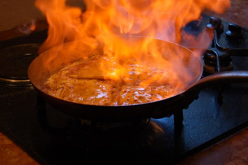 crepes suzette flambes