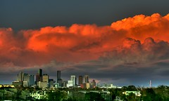 Lightning Sunset in H-Town (J-a-x) Tags: city sunset sky urban usa storm weather skyline architecture clouds buildings downtown cityscape texas skyscrapers houston lightning hdr texasthunderstorms