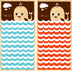 Hello Whale wood screen prints (tad carpenter) Tags: hello ocean new water illustration clouds poster fun silkscreen whale tad carpenter
