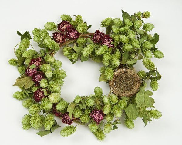 Wreath with hops and roses by Elissa Shaffo
