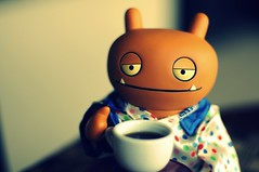Sunday Morning (Photo David) Tags: orange coffee monster rose toy toys 50mm nikon cross cinnamon 14 vinyl gimp apron nikkor process uglydoll pajamas picnik uglydolls wage d300 horvath critterbox presets d80 webkinz 365toyproject