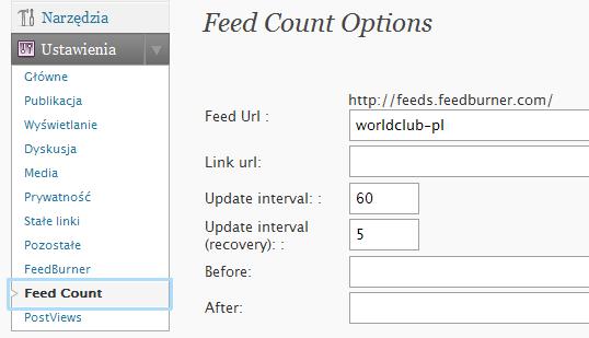 Konfiguracja wtyczki Feed Count w panelu