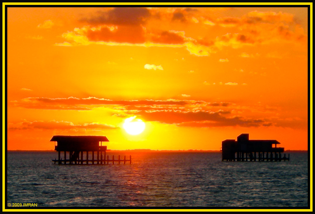 Yellow Red & Dark Blue Frame Stiltsville Frames, Biscayne Bay, Miami, Florida - IMRAN™