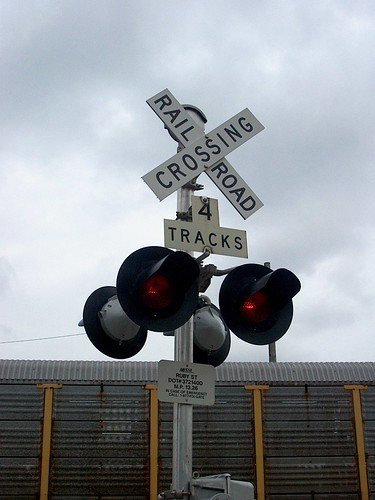 Railroad crossing signal at work. Franklin Park Illinois. September 2006.