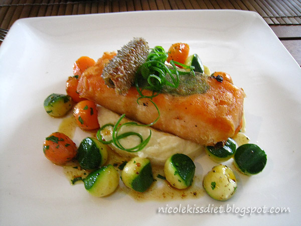 salmon and mash potatoes