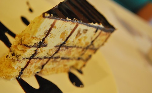 Malakoff Cake: layer of sansrival with chocolate and pistachios