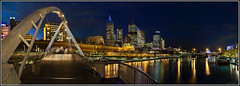 Flinders Street Station Footbridge Panorama #1: Ghosts on the bridge (aumbody images) Tags: city longexposure bridge light panorama skyline night buildings reflections river cityscape australia melbourne victoria yarra flindersstreetstation hdr yarrariver hugin aumbodyimages mywinners thepinnaclehof tphofweek3