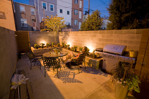 Row House Backyard Ideas : still need to hook up the plumbing for the spigot in the back and