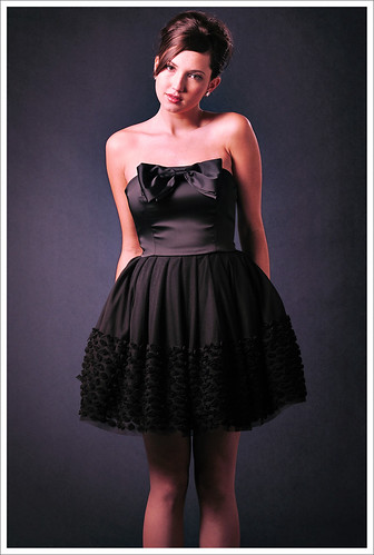 Dark Background Studio Look-Book Fashion Photography, Classic Black Party Frock