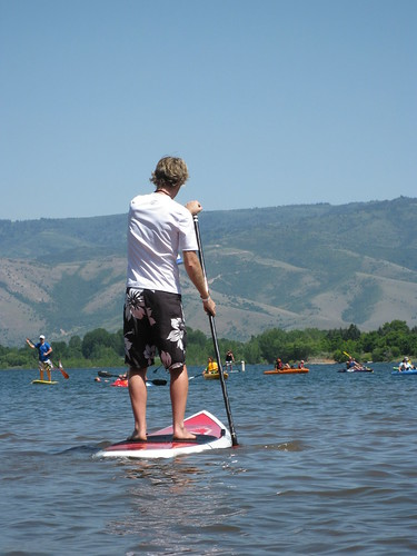 Stand up paddling, in action