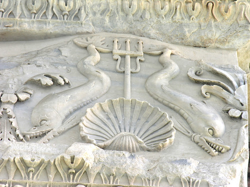 A detail of fierce duck-fishes from the Basilica of Neptune
