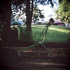 stray shopping carts of Scandinavia (patrickjoust) Tags: park street city urban color 6x6 tlr film grass oslo norway analog shopping square lens norge reflex focus europa europe flickr fuji carriage mechanical trolley patrick twin slide mat v chrome 124g epson medium format manual 500 cart expired 80 joust fujichrome e6 yashica 220 astia 80mm 100f f35 reversal yashinon v500 terrascania autaut patrickjoust