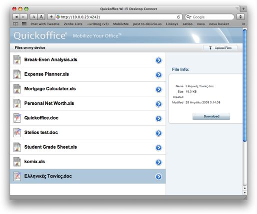 QuickOffice Wifi Sharing