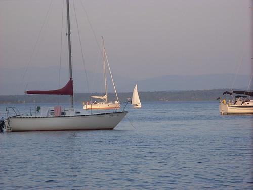 sailboats on Lake Champlain