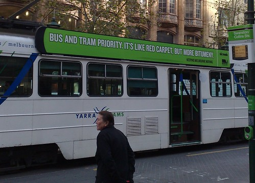 Tram advertising tram priority