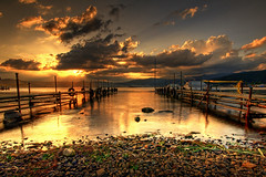 Junk Docks (TheJbot) Tags: sunset sky lake japan clouds docks boats shore distillery nagano hdr jbot suwa sigma1020mm thejbot