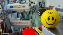 Smiley In ICU /   (AmpamukA) Tags: wallpaper cute smile yellow hospital funny creative surgery infusion smiley ward iv icu in siriraj    ampamuka