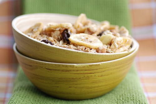 crunchy maple walnut and banana granola