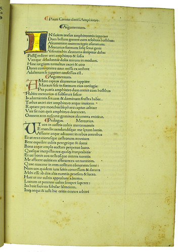 Illuminated initial from Plautus: Comoediae