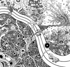 Wavelength (Alkaline Samurai) Tags: ocean sea wild sky urban blackandwhite shells abstract black art texture beach water lines clouds poster spiral rocks waves pattern underwater graphic abstractart modernart space style twist growth slice bubble precision strings alkaline detailed wiggles dense intricate seaform urbanfolkart negitivespace verydetailed arlendean pencontrol secretorganisms alkalinesamurai