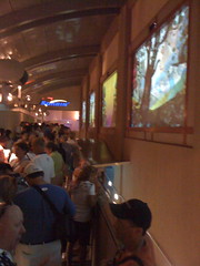 The five ambient / interactive displays in line at Soarin'