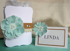 Wedding favour box and place card (Heather Maria D) Tags: wedding pearls heroarts embossing placecard distressinks cuttlebug laceribbon ch137 cl137 blossomart ch231 labels8 weddingfavourbox cl495 smallvarietyalphabet june2011b ch156clearmixedgemstones
