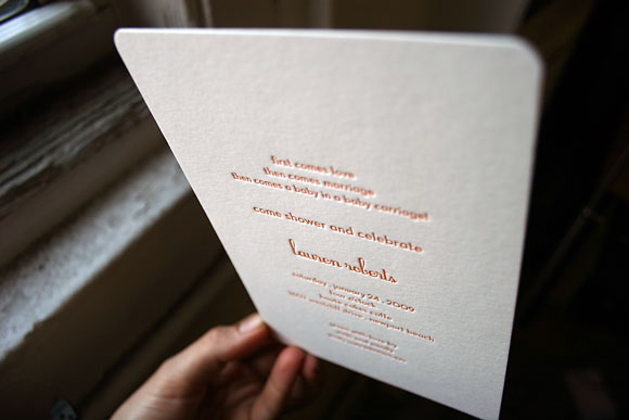Letterpress baby shower invitations - by Smock