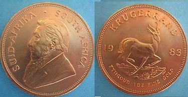 1983 Krugerrand Uncirculated one ounce gold coins.