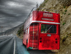 too far from home (Kris Kros) Tags: california from ca uk red usa bus london home way photography for coast back high highway long view shot dynamic pacific rear before it double malibu pch blended british routemaster backside too today range far 2009 hdr hire kkg decker rained photomatix kriskros 5xp 1xp kkgallery