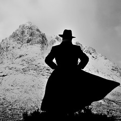 Let The Mountain Come To The Man (Photography JC) Tags: winter mountain snow man silhouette scotland highlands long moody with sinister no name coat dramatic windy stranger figure western mysterious pensive glencoe fedora clint determined mor buachaille eastwood etive observant