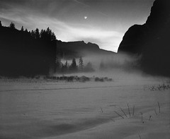 The Path to the moon | Yosemite National Park, USA (ART SRISAK | PHOTOGRAPHY) Tags: california sunset sky bw moon mamiya film fog yosemite delta100 silhuette autaut rb67pros filmforward artsrisak ilfoard darkmarvel