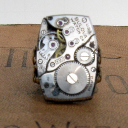 Steampunk Unisex Adjustable 24 Jewels Bulova Watch Movement Ring with Rubies
