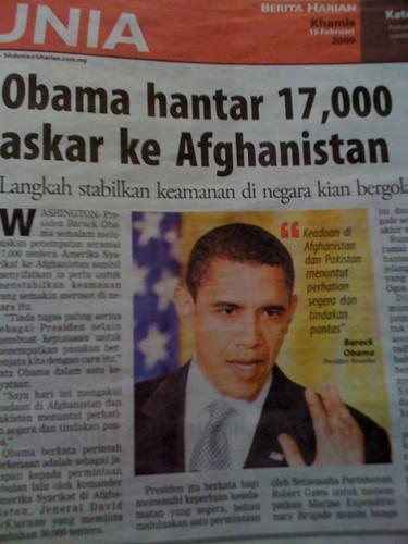 Obama hantar 17,000 askar ke afghanistan