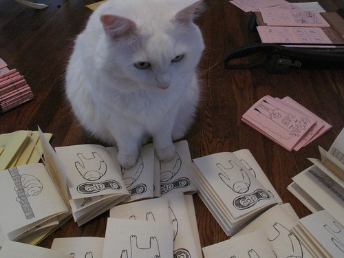 Nilla helping at my zine factory.