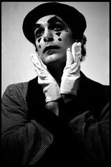 _ (Damien Storey) Tags: portrait bw film ds mime mimeartist olympusom10 50mmf18 fujineopan1600