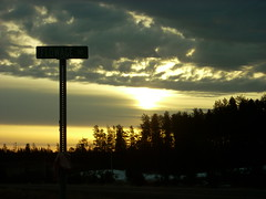 Muted Sunrive with Street Sign (kimve) Tags: trees clouds sunrise muted