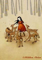 Envy (Hidden Eloise) Tags: trees red summer art girl animal illustration fairytale forest woodland spring beige whimsy dress decoration deer gift etsy whimsical hidenseek