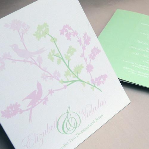 Lovebirds pink wedding invitation from mini Moko, Wedding invitation idea, wedding invitation sample, lovebird, wedding invitation, flowers, photos
