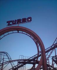 turbo (linda boucher) Tags: sunset sky moon pier brighton dusk hove turbo rollercoaster palacepier